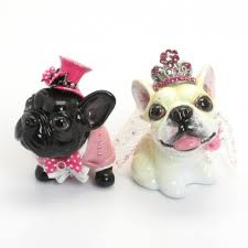 wedding cake toppers dog lover french bulldog pink wedding heart