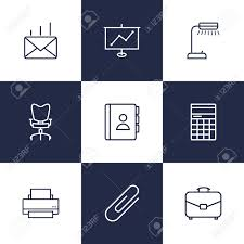 telephone bureau set of 9 bureau outline icons set collection of fastener paper