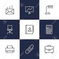 telephone bureau set of 9 bureau outline icons set collection of fastener paper