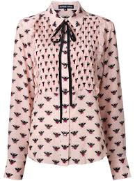 markus lupfer allover bee print shirt dusty pink women clothing