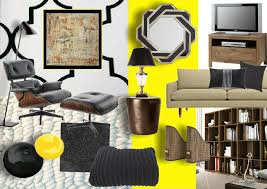 high contrast and graphic home office mood board created using