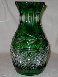 Colored Crystal Vases Emerald Green Cut To Clear Crystal Vase By Galway Crystal Ireland