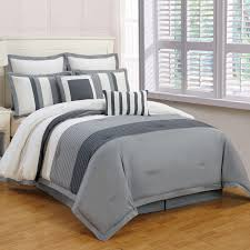 bedroom gray pintuck comforter with striped throw pillows and