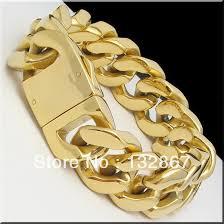 mens gold bracelet links images 155g heavy men s stainless steel cuban curb link gold bracelet 9 quot x jpg