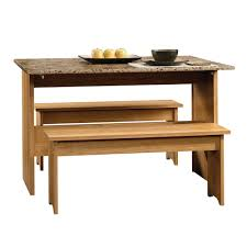 sauder beginnings highland oak 47in trestle table 414672