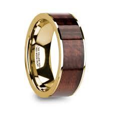 wood inlay wedding band phorbas men s 14k yellow gold wedding band with wood inlay