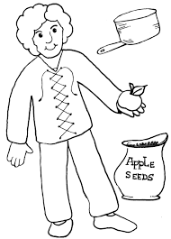 johnny appleseed color pages printable pages homeschool 4 free