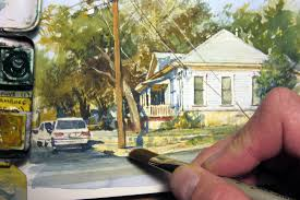 realistic watercolor of a house by james gurney youtube