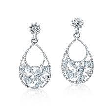 Cubic Zirconia Chandelier Earrings White Sapphire Cubic Zirconia Chandelier Earrings
