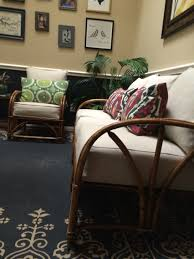 vintage rattan sofa and chair set reupholstered in ballard vintage rattan sofa and chair set reupholstered in ballard designs upholstery fabric