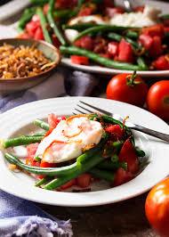 italian green bean salad with burrata and crispy shallots just a
