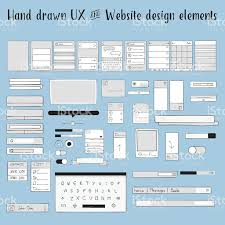 hand drawn ux and website design elements stock vector art