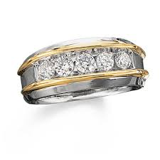 mens two tone gold wedding bands this is it s 1 ct t w five band in 10k two
