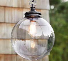 Outdoor Pendant Lights Calhoun Glass Indoor Outdoor Pendant Pottery Barn