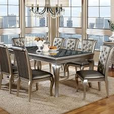 Silver Dining Chair Amina Contemporary Silver Dining Set