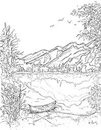 coloring pages for landscapes landscape coloring pages serenity jasper printable page canoe