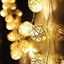 rattan ball fairy lights naladoo outdoor string lights 20 led warm white rattan ball string