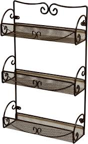 amazon com decobros 3 tier wall mounted spice rack bronze home