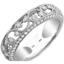 floral wedding band sterling silver deco floral wedding band ring