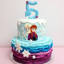 frozen cake ombre ruffles sparkly snowflakes 2 elsa u0026 anna