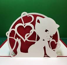 Free Kirigami Card Templates Bear With Hearts Pop Up Card Template From Cahier De Kirigami 9