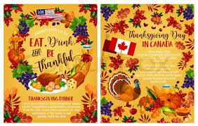 thanksgiving day invitation poster with canadian flag vector design