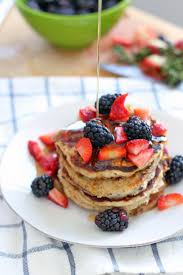 Blueberry Pancake Recipe Fluffy Berry Oat Pancakes Made With 100 Whole Grains Bowl Of