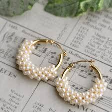 pearl hoop earrings lecollier rakuten global market seed pearl k18yg hoop earrings
