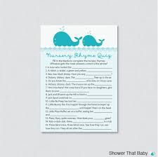 whale baby shower nursery rhyme quiz game printable instant