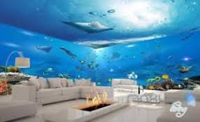 3D Underwater View Ray Fish Entire Room Bathroom Wallpaper Wall
