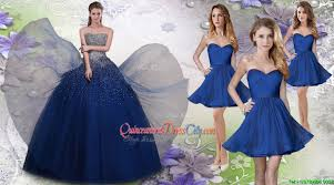 pretty navy blue really puffy quinceanera dress and fashionable