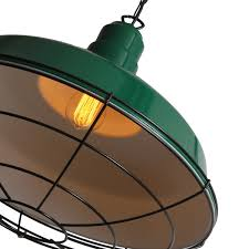 Cage Pendant Light Green Industrial Cage Pendant Light