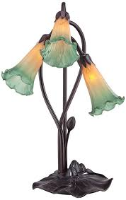 Small Accent Table Lamps Amber Lily Flower 17