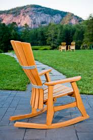 Wooden Rocking Chair Outdoor Simple Wooden Detail Of The Outdoor Rocking Chair With Unvarnished