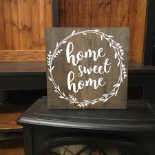 wood sign home sweet home distressed sign wall decor