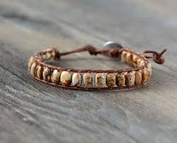free leather bracelet images Handmade natural semi precious jasper bead leather bracelet 3 jpg