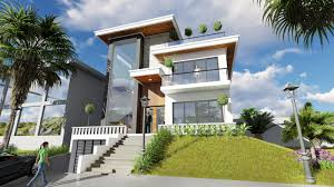 sketchup exterior villa design drawing from elevation 3 stories