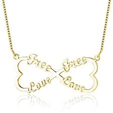 gold name necklace 4 name infinity heart bow gold name necklace think engraved