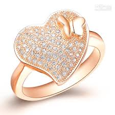 heart design rings images Discount top sale exquisite charming heart design rose gold plated jpg