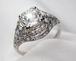 filigree engagement ring palladium filigree diamond ring deco diamond engagement ring