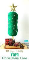 easy no sew diy yarn christmas tree holiday home decor light