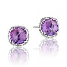 purple stud earrings tacori lilac blossoms silver amethyst stud earrings