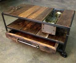 Custom Made Industrial Coffee Table With Rustic Wood And Metal By