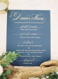 Blue Table Menu Gold And Royal Blue Table Placement Card Menu Cards Royal Blue