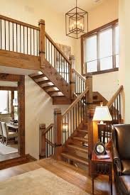 Solid Banister Rustic Open Staircase Staircase Rustic With Steel Stringer Rock