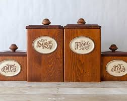 wooden kitchen canisters vintage kitchen canisters etsy