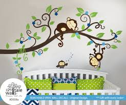 Nursery Monkey Wall Decals Boy Jungle Monkey Wall Decal With One Owl For Nursery Decor