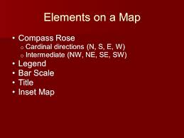 Map Compass Elements On A Map Compass Rose Legend Bar Scale Title Inset Map