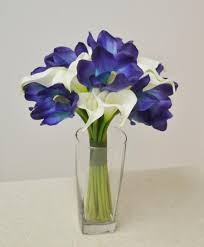 Wedding Flowers Blue And White Blue Real Touch Bouquet White Calla Lilies Blue Cymbidium