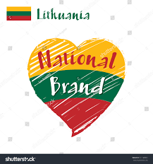 Flag Of Lithuania Picture Vector Flag Heart Lithuania National Brand Lithuania Stock Vector